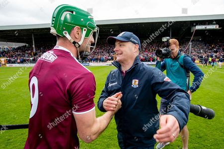 Kilkenny vs Galway. Galway manager Micheal Donoghue congratulates David Burke after the game