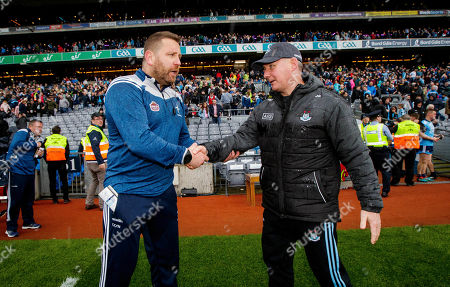 Stock Picture of Dublin vs Kildare. Kildare manager Cian O'Neill with Dublin manager Jim Gavin