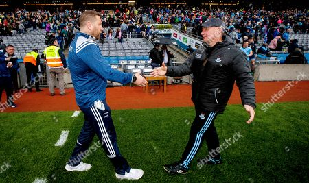 Stock Photo of Dublin vs Kildare. Kildare manager Cian O'Neill with Dublin manager Jim Gavin