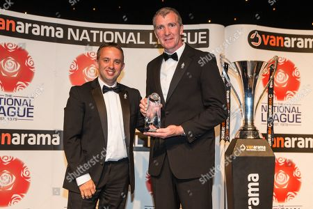 Manager of the Year award Jim Gannon Stockport County during the National League Gala Awards at Celtic Manor Resort, Newport