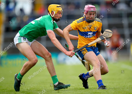 Limerick vs Clare. Limerick's Cathal O'Neill and Tony Butler of Clare