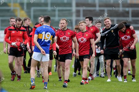 Down vs Tipperary. Down's Darren O'Hagan with Tipperary's Philip Austin after the game