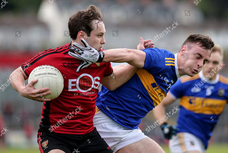 Down vs Tipperary. Down's Cory Quinn and Tipperary's Alan Campbell