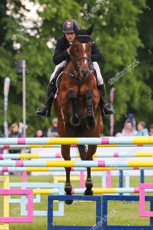 Stock Image of Mr Sneezy ridden by James Avery in the Equi-Trek CCI-4* Show Jumping during the Bramham International Horse Trials 2019 at Bramham Park, Bramham
