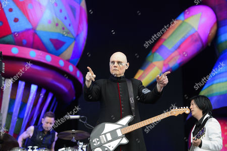 Jimmy Chamberlin, Billy Corgan and James Iha of the US alternative rock band The Smashing Pumpkins perform on the Zeppelin stage at the 'Rock im Park' festival in Nuremberg, Germany, 09 June 2019. The festival takes place from 07 to 09 June.