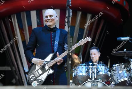 Billy Corgan (L) and Jimmy Chamberlin (R) of the US alternative rock band The Smashing Pumpkins perform on the Zeppelin stage at the 'Rock im Park' festival in Nuremberg, Germany, 09 June 2019. The festival takes place from 07 to 09 June.