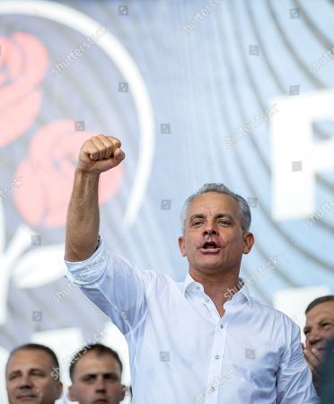The leader of the Democratic Party of Moldova Vladimir Plahotniuc gestures during his speech at a rally in Chisinau, Moldova, 09 June 2019. After forming the majority on 08 June, the parliament voted the Socialist Zinaida Grecianii as Speaker and Maia Sandu as Prime Minister. The Democratic Party tries to mentain her position and power in old government, and uses the Constitutional Court to block all decision of new Government.