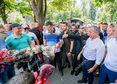 The leader of the Democratic Party of Moldova Vladimir Plahotniuc (3-R) gestures next to supporters holding turkeys, before his supporters will throw them over the fence of presidential building, as a sign of contempt and dishonor of the President, in Chisinau, Moldova, 09 June 2019. After forming the majority on 08 June, the parliament voted the Socialist Zinaida Grecianii as Speaker and Maia Sandu as Prime Minister. The Democratic Party tries to mentain her position and power in old government, and uses the Constitutional Court to block all decision of new Government.