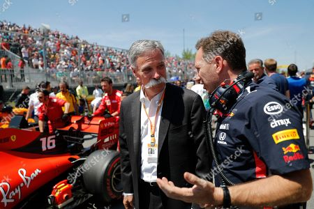 Formula One Group CEO Chase Carey (L) and Aston Martin Red Bull Racing Team Chief Christian Horner (R) chat on the grid before the 2019 Canada Formula One Grand Prix at the Gilles Villeneuve circuit in Montreal, Canada, 09 June 2019.