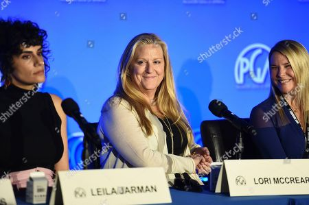 Leila Jarman, Lori McCreary, Tricia Melton. From left, Leila Jarman, Lori McCreary and Tricia Melton attend the second day of the Produced By Conference 2019 on in Burbank, Calif