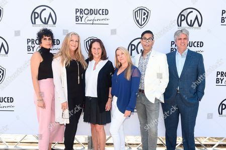 Stock Picture of Leila Jarman, Lori McCreary, Lucy Fisher, president of Producers Guild of America, Tricia Melton, Steven Canals, Scott Silveri. From left, Leila Jarman, Lori McCreary, Lucy Fisher, president of Producers Guild of America, Tricia Melton, Steven Canals and Scott Silveri attend the second day of the Produced By Conference 2019 on in Burbank, Calif