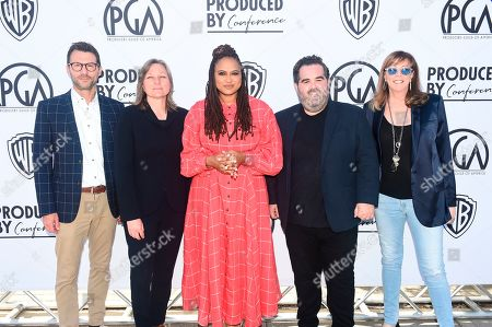 Jonathan King, Cindy Holland, Ava DuVernay, Barry Welsh, Jane Rosenthal. From left, Jonathan King, Cindy Holland, Ava DuVernay, Barry Welsh and Jane Rosenthal attend the second day of the Produced By Conference 2019 on in Burbank, Calif