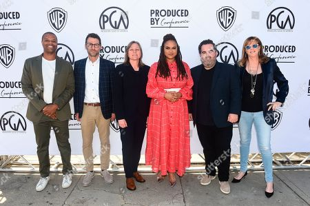 Malcolm Venable, Jonathan King, Cindy Holland, Ava DuVernay, Barry Welsh, Jane Rosenthal. From left, Malcolm Venable, Jonathan King, Cindy Holland, Ava DuVernay, Barry Welsh and Jane Rosenthal attend the second day of the Produced By Conference 2019 on in Burbank, Calif