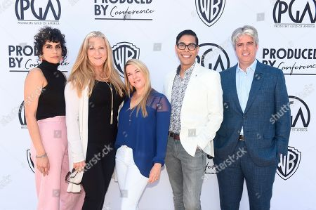 Stock Photo of Leila Jarman, Lori McCreary, Tricia Melton, Steven Canals, Scott Silveri. From left, Leila Jarman, Lori McCreary, Tricia Melton, Steven Canals and Scott Silveri attend the second day of the Produced By Conference 2019 on in Burbank, Calif
