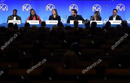 Malcolm Venable, Ava DuVernay, Cindy Holland, Barry Welsh, Jane Rosenthal, Jonathan King. From left, Malcolm Venable, Ava DuVernay, Cindy Holland, Barry Welsh, Jane Rosenthal and Jonathan King attend the second day of the Produced By Conference 2019 on in Burbank, Calif