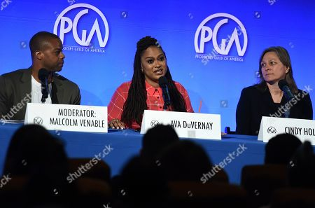 Malcolm Venable, Ava DuVernay, Cindy Holland. From left, Malcolm Venable, Ava DuVernay and Cindy Holland attend the second day of the Produced By Conference 2019 on in Burbank, Calif