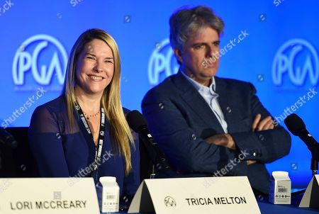Stock Image of Tricia Melton, Scott Silveri, Lucy Fisher. Tricia Melton and Scott Silveri attend the second day of the Produced By Conference 2019 on in Burbank, Calif