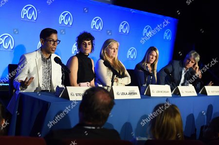 Steven Canals, Leila Jarman, Lori McCreary, Tricia Melton, Scott Silveri. From left, Steven Canals, Leila Jarman, Lori McCreary, Tricia Melton and Scott Silveri attend the second day of the Produced By Conference 2019 on in Burbank, Calif