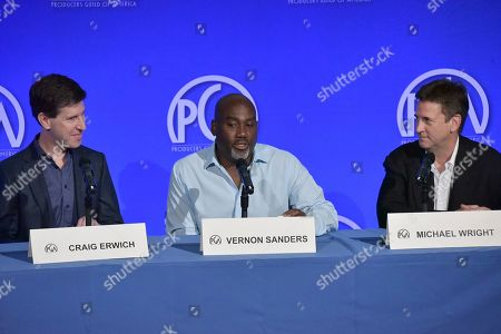 """Craig Erwich, Vernon Sanders, Michael Wright. Craig Erwich, from left, Vernon Sanders and Michael Wright participate in """"The Streamers"""" during the Produced By Conference 2019, in Burbank, Calif"""