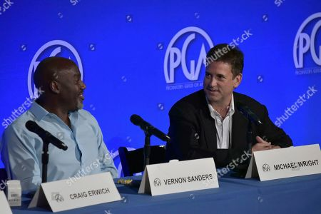 """Vernon Sanders, Michael Wright. Vernon Sanders, left, and Michael Wright participate in """"The Streamers"""" during the Produced By Conference 2019, in Burbank, Calif"""