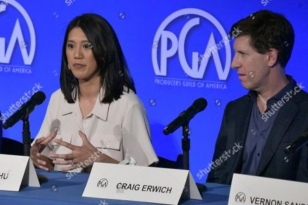 "Agnes Chu, Craig Erwich. Agnes Chu, left, and Craig Erwich participate in ""The Streamers"" during the Produced By Conference 2019, in Burbank, Calif"