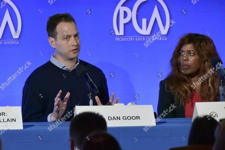 """Stock Image of Dan Goor, Dee Harris - Lawrence. Dan Goor, left, and Dee Harris - Lawrence participate in the """"The Future Of Producing"""" panel during the Produced By Conference 2019, in Burbank, Calif"""