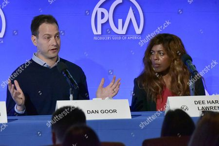 """Stock Photo of Dan Goor, Dee Harris - Lawrence. Dan Goor, left, and Dee Harris - Lawrence participate in the """"The Future Of Producing"""" panel during the Produced By Conference 2019, in Burbank, Calif"""