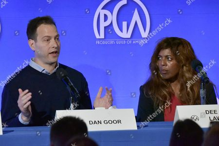 """Dan Goor, Dee Harris - Lawrence. Dan Goor, left, and Dee Harris - Lawrence participate in the """"The Future Of Producing"""" panel during the Produced By Conference 2019, in Burbank, Calif"""