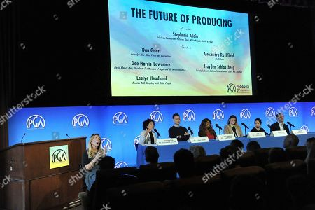 Stock Image of Stepanie Allain, Dan Goor, Dee Harris - Lawrence, Hayden Schlossberg, Leslye Headland, Alexandra Rushfield. Stepanie Allain, from left, Dan Goor, Dee Harris - Lawrence, Hayden Schlossberg, Leslye Headland and Alexandra Rushfield attend the Produced By Conference 2019, in Burbank, Calif
