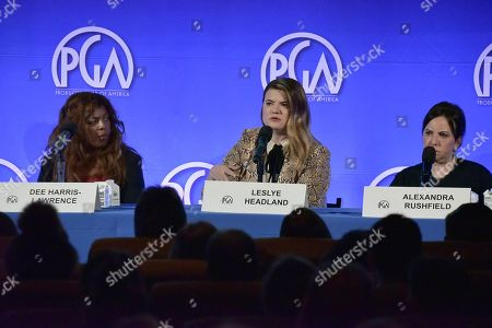 """Dee Harris - Lawrence, Stepanie Allain, Leslye Headland and Alexandra Rushfield. Dee Harris - Lawrence, from left, Stepanie Allain, Leslye Headland and Alexandra Rushfield participate in the """"The Future Of Producing"""" panel during the Produced By Conference 2019, in Burbank, Calif"""