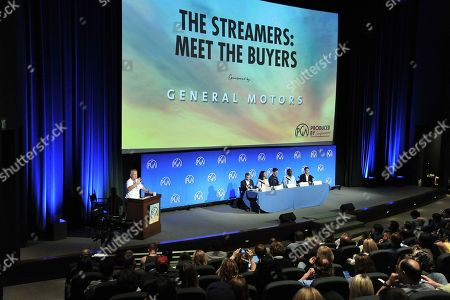 """Vance Van Petten, Chris Thomes, Agnes Chu, Craig Erwich, Vernon Sanders, Michael Wright. Craig Erwich, from left, Chris Thomes, Agnes Chu, Vernon Sanders, Craig Erwich and Michael Wright participate in """"The Streamers"""" during the Produced By Conference 2019, in Burbank, Calif"""