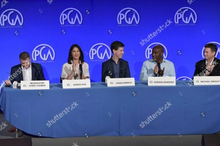 """Chris Thomes, Agnes Chu, Craig Erwich, Vernon Sanders, Michael Wright. Chris Thomes, from left, Agnes Chu, Vernon Sanders, Craig Erwich and Michael Wright participate in """"The Streamers"""" during the Produced By Conference 2019, in Burbank, Calif"""