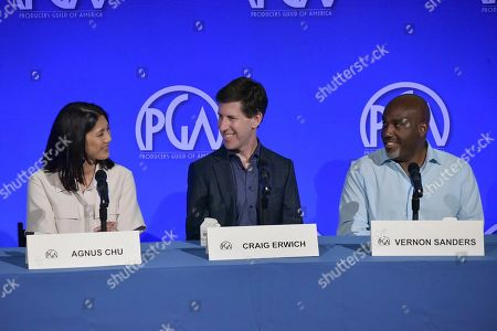 """Agnes Chu, Craig Erwich, Vernon Sanders. Agnes Chu, from left, Craig Erwich and Vernon Sanders participate in """"The Streamers"""" during the Produced By Conference 2019, in Burbank, Calif"""