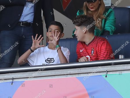 Cristiano Ronaldo Jnr the son of Cristiano Ronaldo of Portugal in the stands