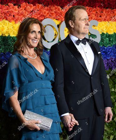 Jeff Daniels, Kathleen Rosemary Treado. Kathleen Rosemary Treado, left, and Jeff Daniels arrive at the 73rd annual Tony Awards at Radio City Music Hall, in New York