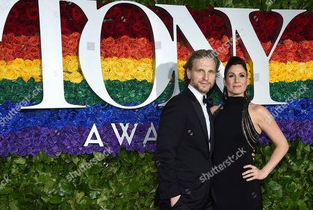 Sebastian Arcelus, Stephanie J. Block. Sebastian Arcelus, left, and Stephanie J. Block arrive at the 73rd annual Tony Awards at Radio City Music Hall, in New York