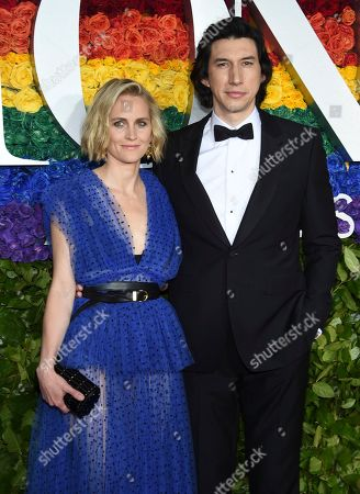 Joanne Tucker, Adam Driver. Joanne Tucker, left, and Adam Driver arrive at the 73rd annual Tony Awards at Radio City Music Hall, in New York