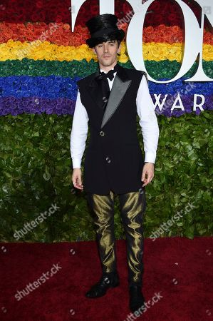 Reeve Carney arrives at the 73rd annual Tony Awards at Radio City Music Hall, in New York