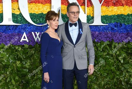 Robin Dearden, Bryan Cranston. Robin Dearden, left, and Bryan Cranston arrive at the 73rd annual Tony Awards at Radio City Music Hall, in New York