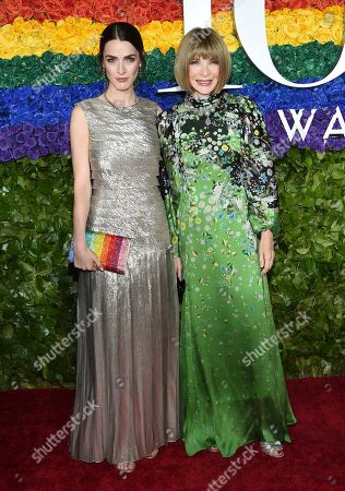 Bee Shaffer, Anna Wintour. Bee Shaffer, left, and Anna Wintour arrive at the 73rd annual Tony Awards at Radio City Music Hall, in New York