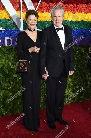 Annette Bening, Warren Beatty. Annette Bening, left, and Warren Beatty arrive at the 73rd annual Tony Awards at Radio City Music Hall, in New York