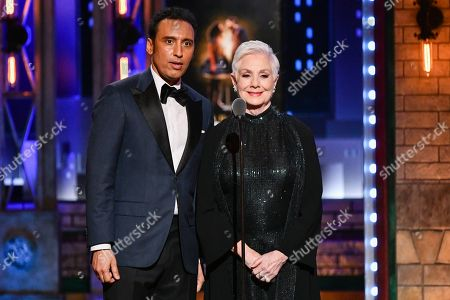 Aasif Mandvi, Shirley Jones. Aasif Mandvi, left, and Shirley Jones speak at the 73rd annual Tony Awards at Radio City Music Hall, in New York