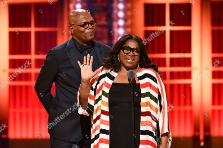 Samuel L. Jackson, LaTanya Richardson. Samuel L. Jackson, left, and LaTanya Richardson speak at the 73rd annual Tony Awards at Radio City Music Hall, in New York