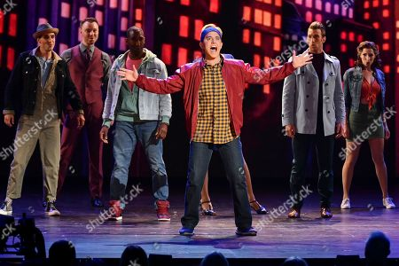 Santino Fontana, center, and the cast of Tootsie, performs at the 73rd annual Tony Awards at Radio City Music Hall, in New York