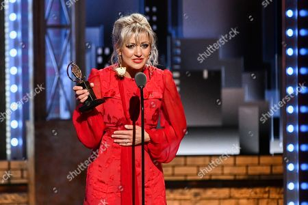 """Anais Mitchell accepts the award for best original score for """"Hadestown"""" at the 73rd annual Tony Awards at Radio City Music Hall, in New York"""