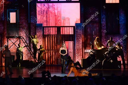 "Kelli O'Hara, center, and the cast of ""Kiss Me, Kate"" perform at the 73rd annual Tony Awards at Radio City Music Hall, in New York"