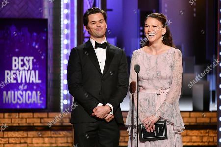 Andrew Rannells, Suttond Foster. Andrew Rannells, left, and Suttond Foster speak at the 73rd annual Tony Awards at Radio City Music Hall, in New York