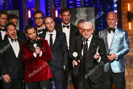 """Mart Crowley and the cast and crew of """"The Boys in the Band"""" accept the award for best revival of a play at the 73rd annual Tony Awards at Radio City Music Hall, in New York"""