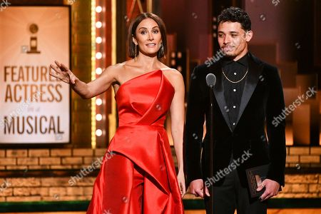 Laura Benanti, Anthony Ramos. Laura Benanti, left, and Anthony Ramos present the award for best performance by an actress in a featured role in a musical at the 73rd annual Tony Awards at Radio City Music Hall, in New York