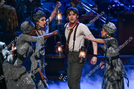 """Reeve Carney, of the cast of """"Hadestown"""" performs at the 73rd annual Tony Awards at Radio City Music Hall, in New York"""